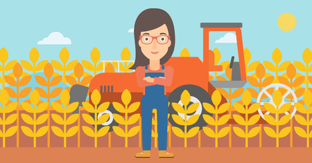 cultivator: A woman standing on the background of combine harvesting wheat vector flat design illustration. Horizontal layout. Illustration