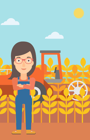 peasant woman: A woman standing on the background of combine harvesting wheat vector flat design illustration. Vertical layout.