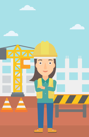 labourer: A woman standing with arms crossed on the background of construction site vector flat design illustration. Vertical layout. Illustration