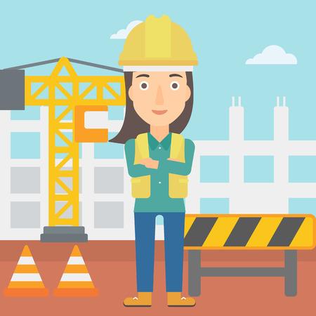 女性が腕を組んで建設サイト ベクトル フラット デザイン イラストの背景に立っています。正方形のレイアウト。