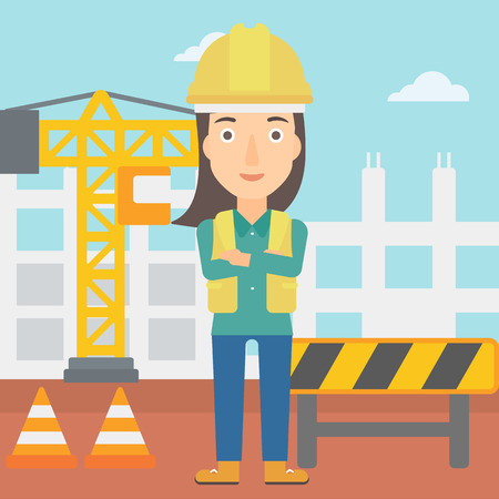 laborer: A woman standing with arms crossed on the background of construction site vector flat design illustration. Square layout.