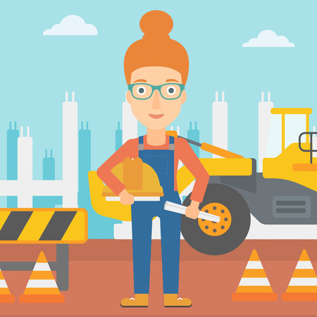 A woman holding a hard hat and a twisted blueprint in hands on a background of construction site with excavator and traffic cones vector flat design illustration. Square layout. 矢量图像