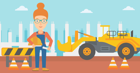 A woman holding a hard hat and a twisted blueprint in hands on a background of construction site with excavator and traffic cones vector flat design illustration. Horizontal layout. Ilustração