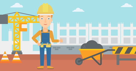 building site: A woman in helmet showing thumbs up sign on a background of construction site with road barriers and wheelbarrow vector flat design illustration. Horizontal layout.