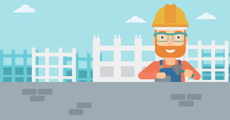 bricklayer: A hipster bricklayer with a spatula and a brick in hands on a background of construction site vector flat design illustration. Horizontal layout.
