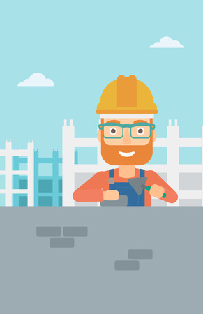 brick and mortar: A hipster bricklayer with a spatula and a brick in hands on a background of construction site vector flat design illustration. Vertical layout.