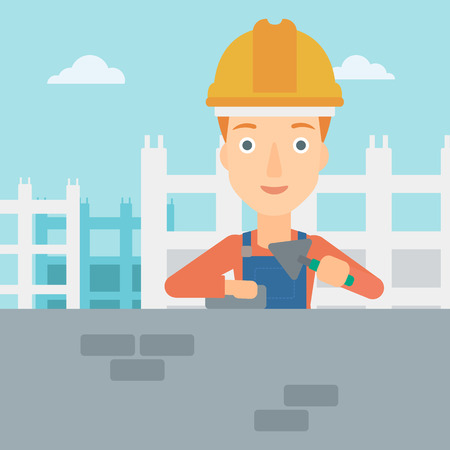 bricklayer: A female bricklayer with a spatula and a brick in hands on a background of construction site vector flat design illustration. Square layout. Illustration