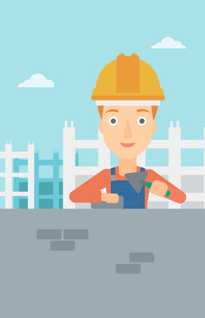 brick and mortar: A female bricklayer with a spatula and a brick in hands on a background of construction site vector flat design illustration. Vertical layout.