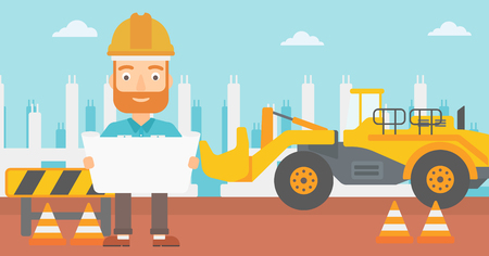building site: A hipster man with the beard considering a blueprint on a background of excavator on construction site vector flat design illustration. Horizontal layout.