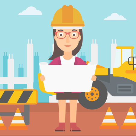 building inspector: A woman considering a blueprint on a background of excavator on construction site vector flat design illustration. Square layout.