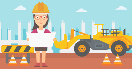 site: A woman considering a blueprint on a background of excavator on construction site vector flat design illustration. Horizontal layout. Illustration
