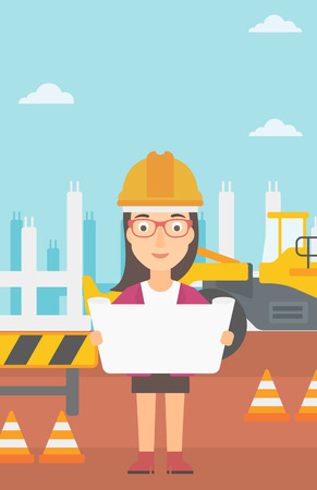 building inspector: A woman considering a blueprint on a background of excavator on construction site vector flat design illustration. Vertical layout.