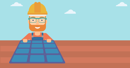 setup man: A hipster man with the beard installing solar panels on roof vector flat design illustration. Horizontal layout.