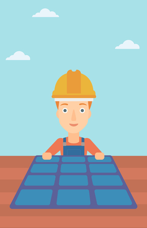 A woman installing solar panels on roof vector flat design illustration. Vertical layout. Illustration