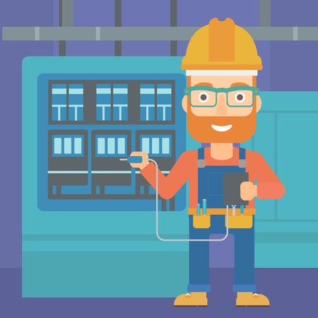 switchboard: A hipster man in helmet measuring the voltage output vector flat design illustration. Square layout. Illustration