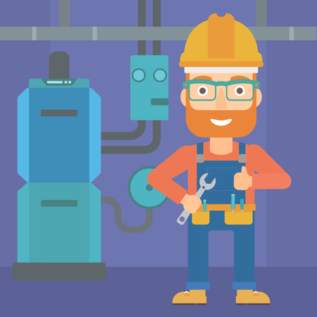 boiler: A hipster man with a spanner in hand showing thumb up sign on a background of domestic household boiler room with heating system and pipes vector flat design illustration. Square layout.
