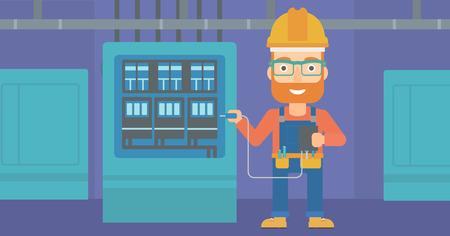 switchboard: A hipster man in helmet measuring the voltage output vector flat design illustration. Horizontal layout. Illustration