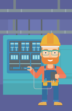 switchgear: A hipster man in helmet measuring the voltage output vector flat design illustration. Vertical layout.