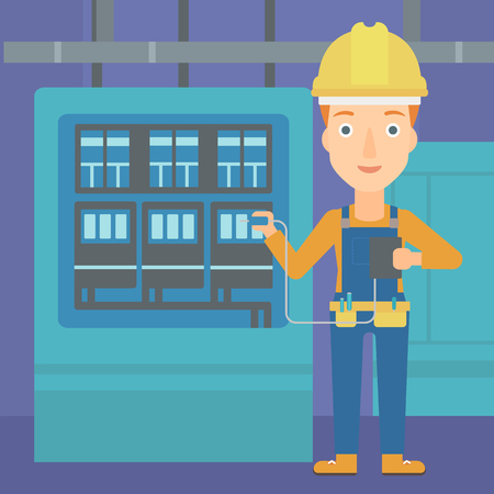 switchboard: A woman in helmet measuring the voltage output vector flat design illustration. Square layout.