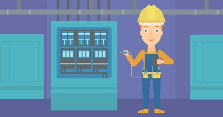 output: A woman in helmet measuring the voltage output vector flat design illustration. Horizontal layout.