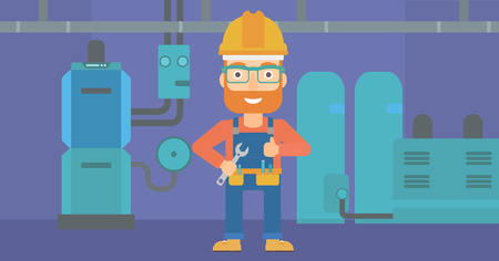 boiler room: A hipster man with a spanner in hand showing thumb up sign on a background of domestic household boiler room with heating system and pipes vector flat design illustration. Horizontal layout.