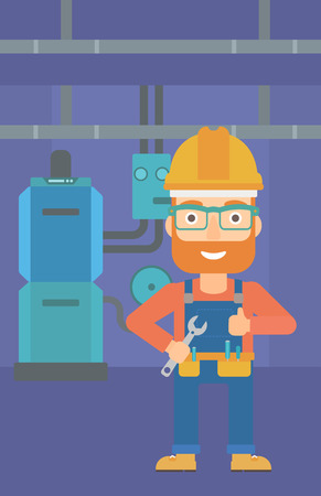 boiler room: A hipster man with a spanner in hand showing thumb up sign on a background of domestic household boiler room with heating system and pipes vector flat design illustration. Vertical layout.