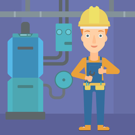 maintenance fitter: A female repairer engineer with a spanner in hand showing thumb up sign on a background of domestic household boiler room with heating system and pipes vector flat design illustration. Square layout. Illustration