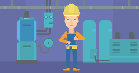 fitter: A female repairer engineer with a spanner in hand showing thumb up sign on a background of domestic household boiler room with heating system and pipes vector flat design illustration. Horizontal layout. Illustration