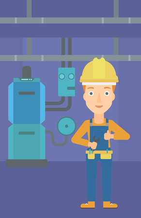 A female repairer engineer with a spanner in hand showing thumb up sign on a background of domestic household boiler room with heating system and pipes vector flat design illustration. Vertical layout.