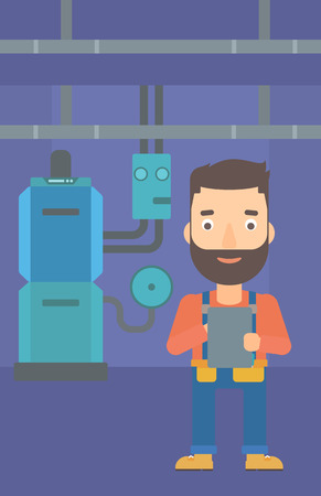 boiler room: A hipster man with the beard making some notes in his tablet on a background of domestic household boiler room with heating system and pipes vector flat design illustration. Vertical layout. Illustration