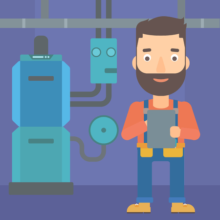 A hipster man with the beard making some notes in his tablet on a background of domestic household boiler room with heating system and pipes vector flat design illustration. Square layout.