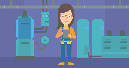 boiler: A woman making some notes in her tablet on a background of domestic household boiler room with heating system and pipes vector flat design illustration. Horizontal layout. Illustration