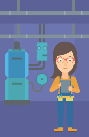 boiler room: A woman making some notes in her tablet on a background of domestic household boiler room with heating system and pipes vector flat design illustration. Vertical layout.