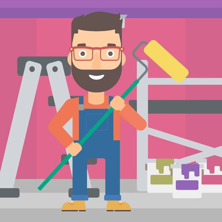 paint cans: A hipster man with the beard standing with a paint roller  on a background of room with paint cans and ladder vector flat design illustration. Square layout. Illustration