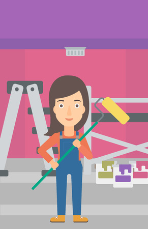 paint cans: A woman standing with a paint roller  on a background of room with paint cans and ladder vector flat design illustration. Vertical layout. Illustration