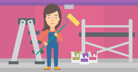 paint cans: A woman standing with a paint roller  on a background of room with paint cans and ladder vector flat design illustration. Horizontal layout.