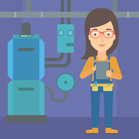 boiler room: A woman making some notes in her tablet on a background of domestic household boiler room with heating system and pipes vector flat design illustration. Square layout.