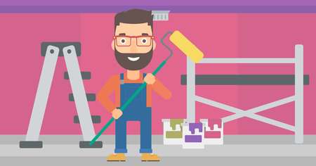 redecorate: A hipster man with the beard standing with a paint roller  on a background of room with paint cans and ladder vector flat design illustration. Horizontal layout.
