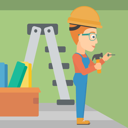 A woman hitting a nail in the wall with a hummer on a background of room with step-ladder vector flat design illustration. Square layout.