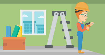 hummer: A woman hitting a nail in the wall with a hummer on a background of room with step-ladder vector flat design illustration. Horizontal layout.