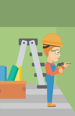 stepladder: A woman hitting a nail in the wall with a hummer on a background of room with step-ladder vector flat design illustration. Vertical layout.