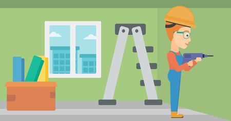 hole in wall: A constructor drilling a hole in the wall using a perforator vector flat design illustration. Horizontal layout.