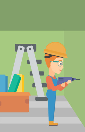 perforator: A constructor drilling a hole in the wall using a perforator vector flat design illustration. Vertical layout.