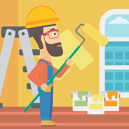 paint can: A hipster man with the beard painting walls with a paint roller vector flat design illustration. Square layout. Illustration