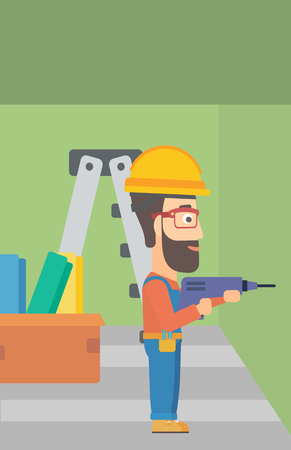 electric hole: A hipster man with the beard drilling a hole in the wall using a perforator vector flat design illustration. Vertical layout. Illustration