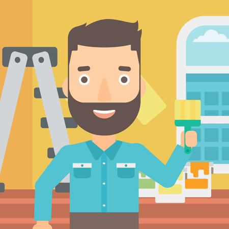 redecorate: A hipster man with the beard holding a paint brush on a background of room with paint cans and ladder vector flat design illustration. Square layout. Illustration