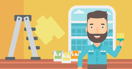 paint cans: A hipster man with the beard holding a paint brush on a background of room with paint cans and ladder vector flat design illustration. Horizontal layout.