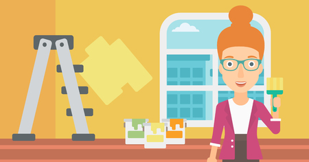 paint cans: A woman holding a paint brush on a background of room with paint cans and ladder vector flat design illustration. Horizontal layout.