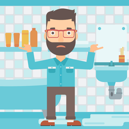 A hipster man in despair standing near leaking sink in the bathroom vector flat design illustration. Square layout.