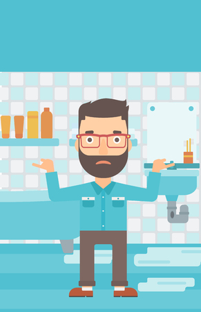 leaking: A hipster man in despair standing near leaking sink in the bathroom vector flat design illustration. Vertical layout.